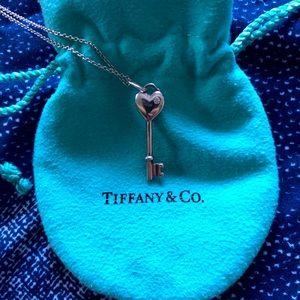 Tiffany & Co. Diamond Heart Key Necklace